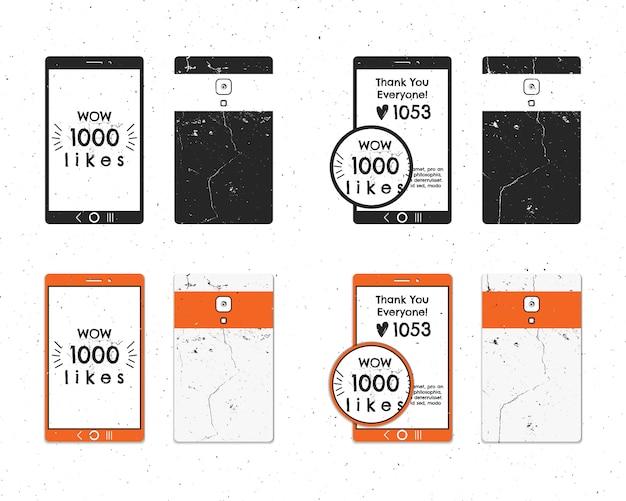 Colección vintage de insignias para tabletas móviles