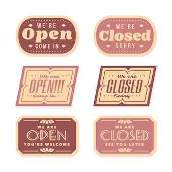 Colección vintage de letreros abiertos y cerrados