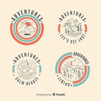 Colección vintage de logos de aventura