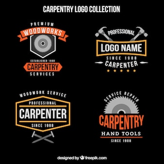 Colección vintage de logos de carpintería