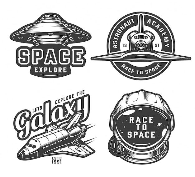Colección vintage de logos espaciales