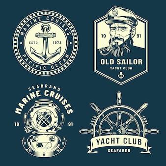 Colección vintage de logos náuticos