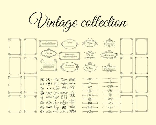 Colección vintage de marcos y bordes.