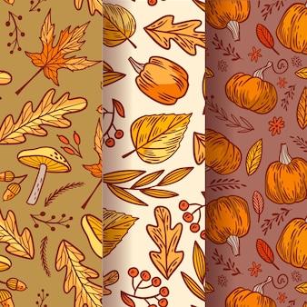 Colección vintage de patrones otoñales