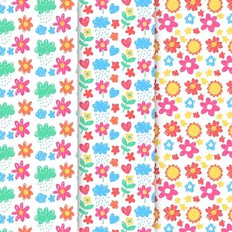 Colección vintage de patrones de primavera