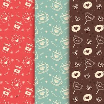 Colección vintage de patrones de san valentín