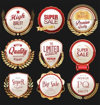 Colección vintage retro de insignias y etiquetas de oro y rojo