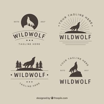 Coleccion vintage retro logos de lobo