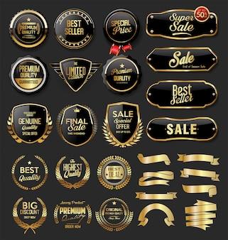 Colección vintage retro de pancartas doradas y negras
