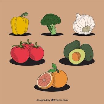 Colección vintage de verduras y frutas