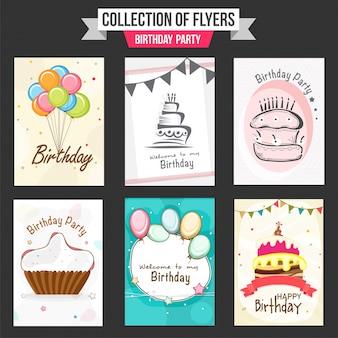 Colección de volantes de la fiesta de cumpleaños con ilustración de globos de colores, pasteles dulces y cupcake