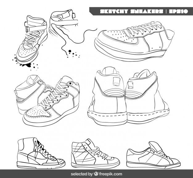 Colección de zapatillas de deporte esbozados