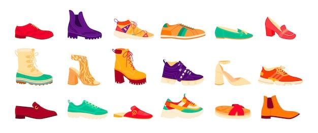 Colección de zapatos de diferentes temporadas, hombres y mujeres: deportivos, informales y formales. conjunto de zapatos planos, tacones altos, botas feas. zapatillas deportivas coloridas.