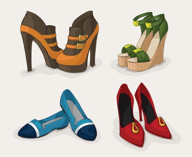 Colección de zapatos de mujer de moda.
