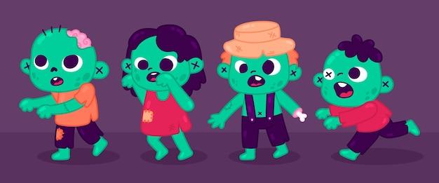 Colección de zombies de halloween dibujados a mano