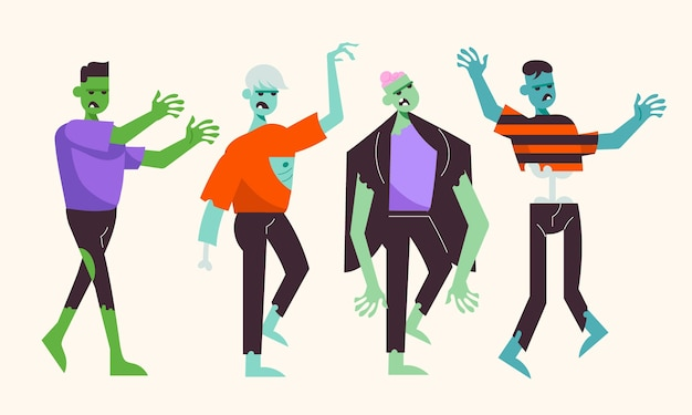 Colección de zombies de halloween planos dibujados a mano