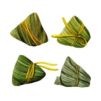 Colección zongzi de la acuarela del bote del dragón