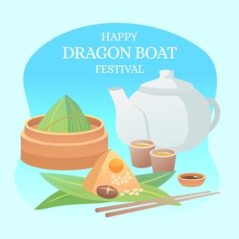 Colección zongzi de barco de dragón de diseño plano