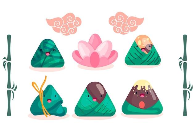Colección de zongzi tradicionales del barco del dragón