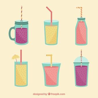 Colección de zumos con pajitas