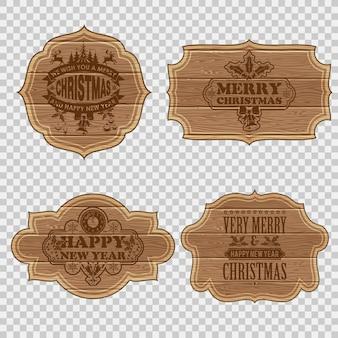Colecciona marcos de madera retro con etiquetas navideñas. ilustración vectorial aislado sobre fondo transparente