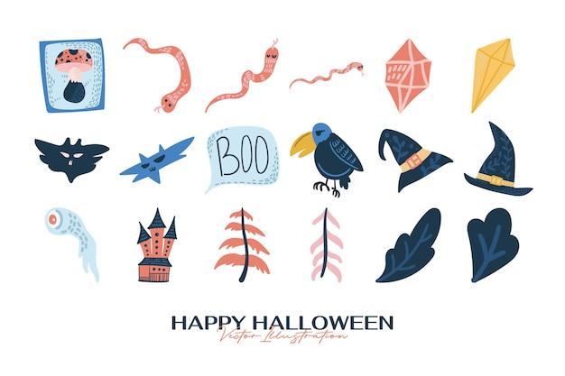 Colecciones de elementos de halloween dibujados a mano