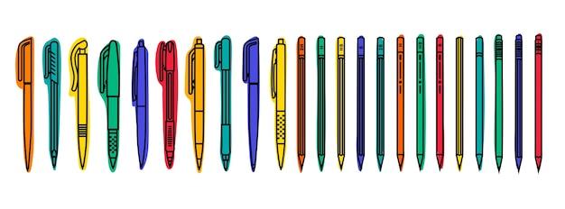 Colecciones estacionarias. bolígrafos y lápices de colores sobre fondo blanco. ilustración de contorno.
