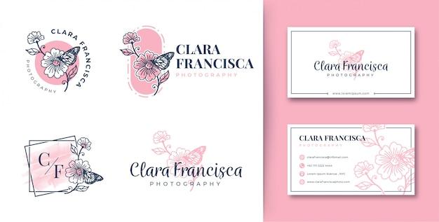 Colecciones de flores y mariposas con logo femenino con tarjeta de visita