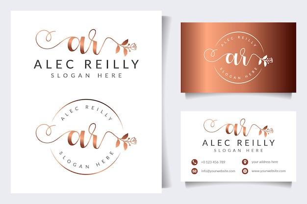 Colecciones iniciales de logotipos ar con plantilla de tarjeta de visita