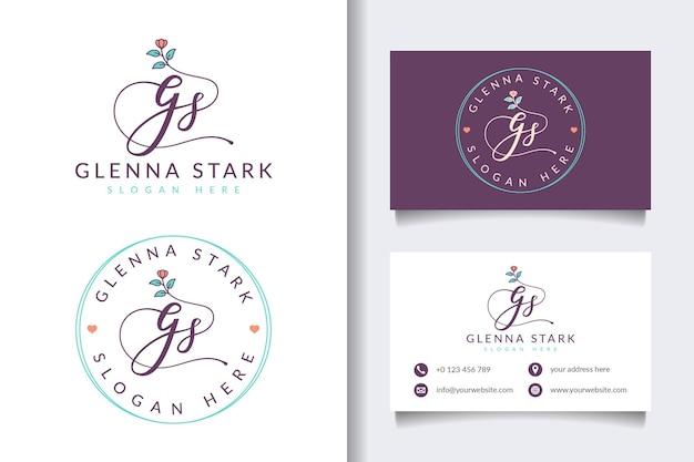 Colecciones iniciales de logotipos femeninos gs con plantilla de tarjeta de visita