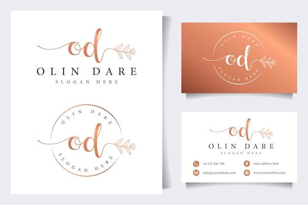 Colecciones iniciales de logotipos femeninos de od con plantilla de tarjeta de visita