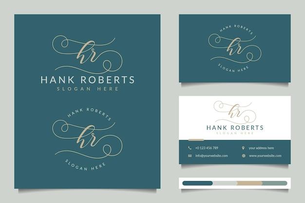 Colecciones iniciales de logotipos femeninos de recursos humanos con plantilla de tarjeta de visita