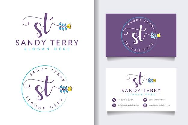 Colecciones iniciales de logotipos femeninos de st con plantilla de tarjeta de visita
