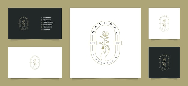 Colecciones de logotipos femeninos con tarjeta de visita,