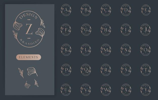 Colecciones de logotipos de letras florales femeninas