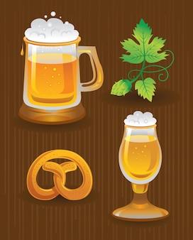 Colecciones para octoberfest. cerveza, lúpulo y pretzel