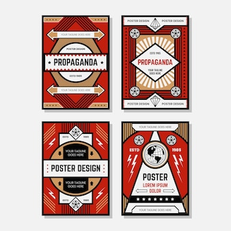 Colecciones de plantillas de diseño de carteles de propaganda a color
