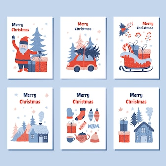 Colecciones de tarjetas de felicitación de navidad, con una encantadora ilustración de dibujos animados