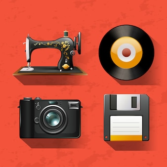 Colecciones vintage con maquina de coser y discos.