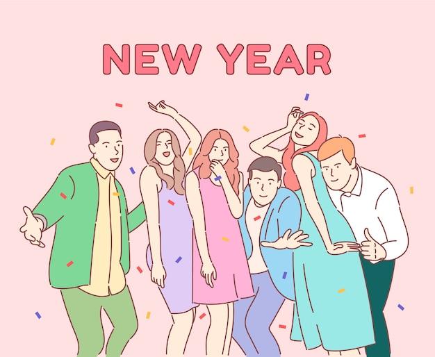 Colegas felices, amigos celebrando las vacaciones de invierno, equipo de negocios positivo con champán.
