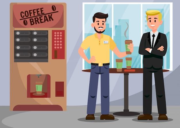 Colegas en la ilustración vectorial coffee break