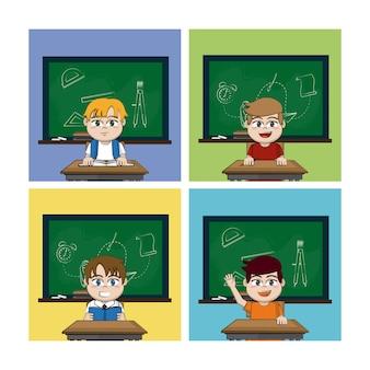 Colegial en marcos cuadrados de aulas
