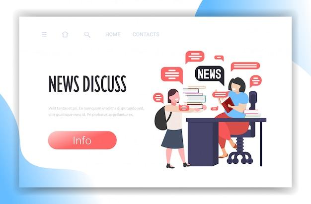Colegiala y profesor discutiendo el concepto de comunicación de burbujas de chat de noticias diarias. espacio de copia de longitud completa ilustración horizontal