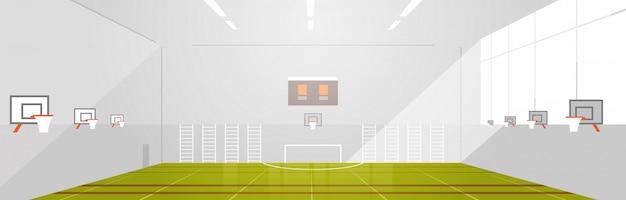 Colegio o escuela gimnasio vacío no personas moderno complejo deportivo complejo interior plano horizontal