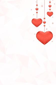 Colgando corazones naranjas fondo patrón de prisma