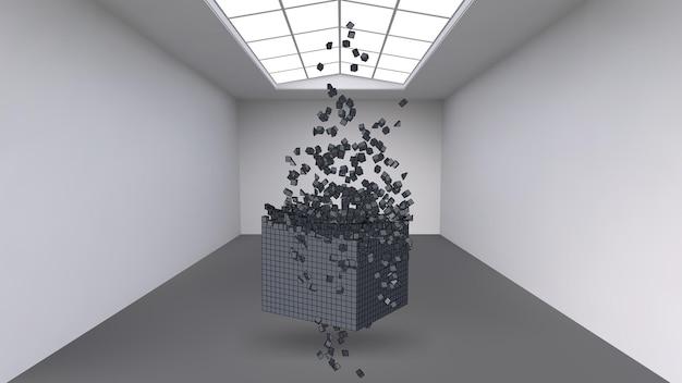 Colgando el cubo de una multitud de pequeños polígonos en la gran habitación vacía. espacio expositivo con formas cúbicas abstractas. el cubo en el momento de la explosión se divide en partículas finas.