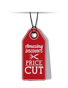 Colgando icono de etiqueta roja. precio oferta de descuento y diseño de mercado. diseño aislado. ilustración vectorial