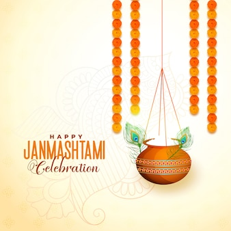 Colgando matki con makhan para el festival janmashtami