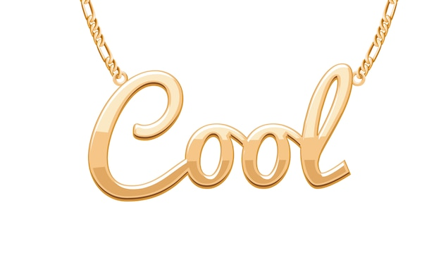Colgante dorado palabra cool en collar de cadena. joyas.