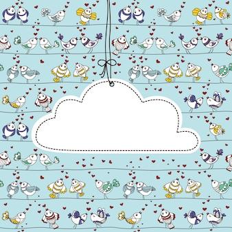 Colgante etiqueta de la nube con pájaros enamorados y lugar para el texto.